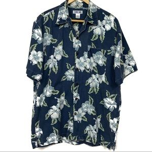 Charokeee Floral blue button down short sleeve